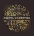 digital marketing round golden outline vector image vector image