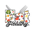eat healthy text fruit fork knife background vector image vector image
