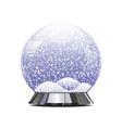 Empty snowglobe with glittering lights and vector image