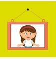 face girl framed picture hanging vector image