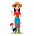 female farmer cartoon character vector image vector image