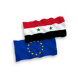 flags syria and european union on a white vector image vector image