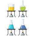 four beakers with colorful liquid vector image vector image