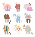 Funny baby kids clothes icon set
