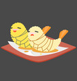 funny cartoon japanese food vector image vector image