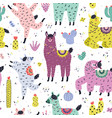 funny seamless pattern with cute llamas and vector image