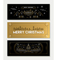 Gold line art Christmas banner template set vector image