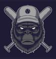 gorilla head stick baseball vector image vector image