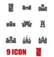 grey castle icon set vector image vector image