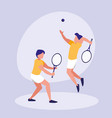 men practicing tennis avatar character vector image vector image