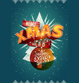 merry xmas and happy new year christmas card vector image vector image