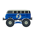 monster truck vehicle heavy blue van with large vector image vector image
