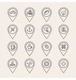outline pin icons vector image vector image