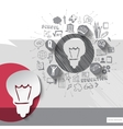 Paper and hand drawn lightbulb emblem with icons vector image