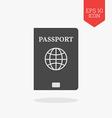 Passport icon Flat design gray color symbol Modern vector image vector image