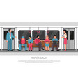 people subway transport poster vector image