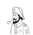 Pirate Captain with Beard and Pipe Isolated on vector image vector image
