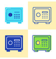 safe box icon set in flat and line style vector image vector image