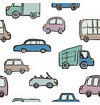 seamless pattern of hand drawn cute cartoon cars vector image vector image