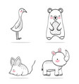 set adorable wild animal character vector image vector image