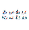 set family winter leisure activities mother vector image