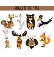 Set of Cute cartoon Animals birds living in taiga vector image vector image