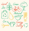 set of eco icons and lettering in sketch style vector image