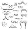 set with diverse mens moustaches and women lips vector image