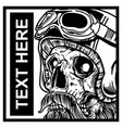 skull wearing helmet hand drawing vector image vector image