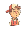 Smiling Boy In Cap And College Jacket Hand Drawn vector image vector image