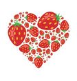 strawberries in heart vector image