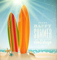 Surfboards on a beach against a sunny seascape vector | Price: 1 Credit (USD $1)