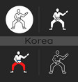 taekwondo dark theme icon vector image