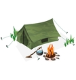tent and campfire vector image vector image