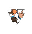 three hands support each other vector image vector image