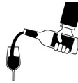 waiter hand holding a wine bottle and pouring vector image vector image