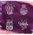 Wedding symbols violet vector image vector image
