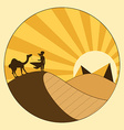 Nomad and Camel Looking to Pyramides Postcard vector image