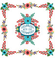 frame with ornament of flowers bouquet vector image
