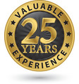 25 years valuable experience gold label vector image vector image