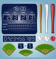 baseball fields with scoreboard numbers bats balls vector image vector image