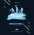 basketball banner with players and hand draw vector image vector image