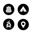 Camping black icons set vector image vector image