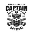 captain bearded skull nautical emblem vector image vector image