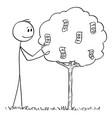 cartoon man or businessman picking bills or vector image
