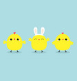 chicken bird set line face head wearing rabbit vector image vector image