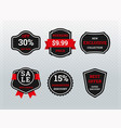 collection black and red sale stickers vector image