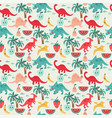 cute background with dinosaurs and fruits vector image