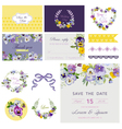 Design Elements - Wedding Flower Pansy Theme vector image vector image