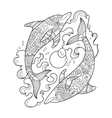 dolphin coloring book for adults vector image vector image